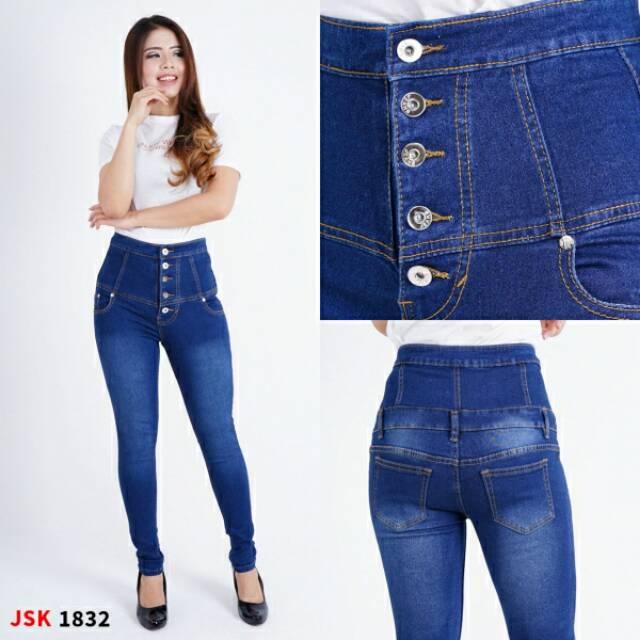 Bisa COD(3 Warna) Celana highwaist Kancing 5 Skinny Jeans Wanita Trendy Modis Original Produk JSK   Shopee Indonesia