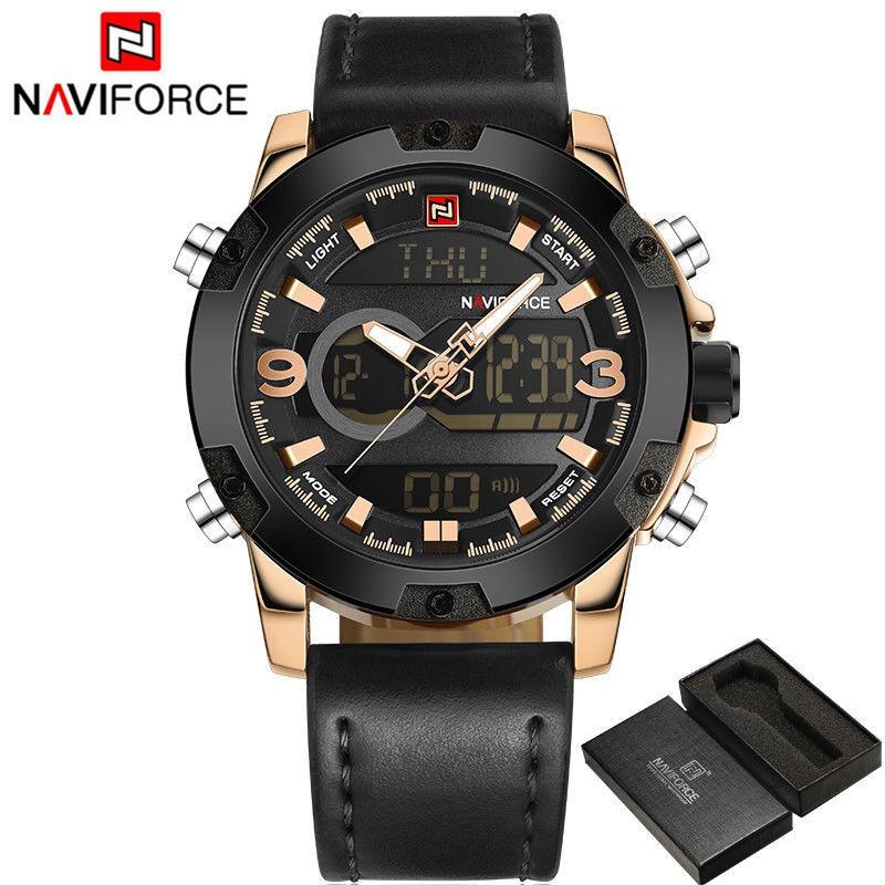 Jam Tangan NAVIFORCE NF9095M PRIA BODY BLACK ANALOG DIGITAL LEATHER ... 7675076d4b