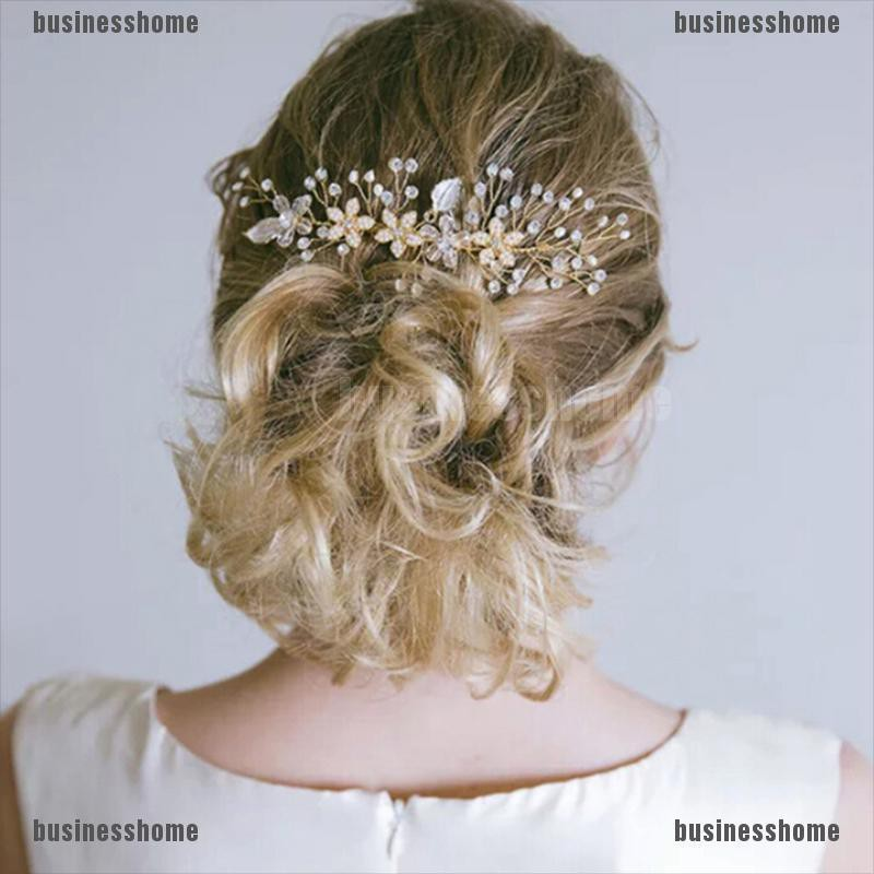 Bsid Women Gold Rhinestone Pearl Hair Comb Hair Clip Bridal Wedding Hair Accessories Wholesale Shopee Indonesia