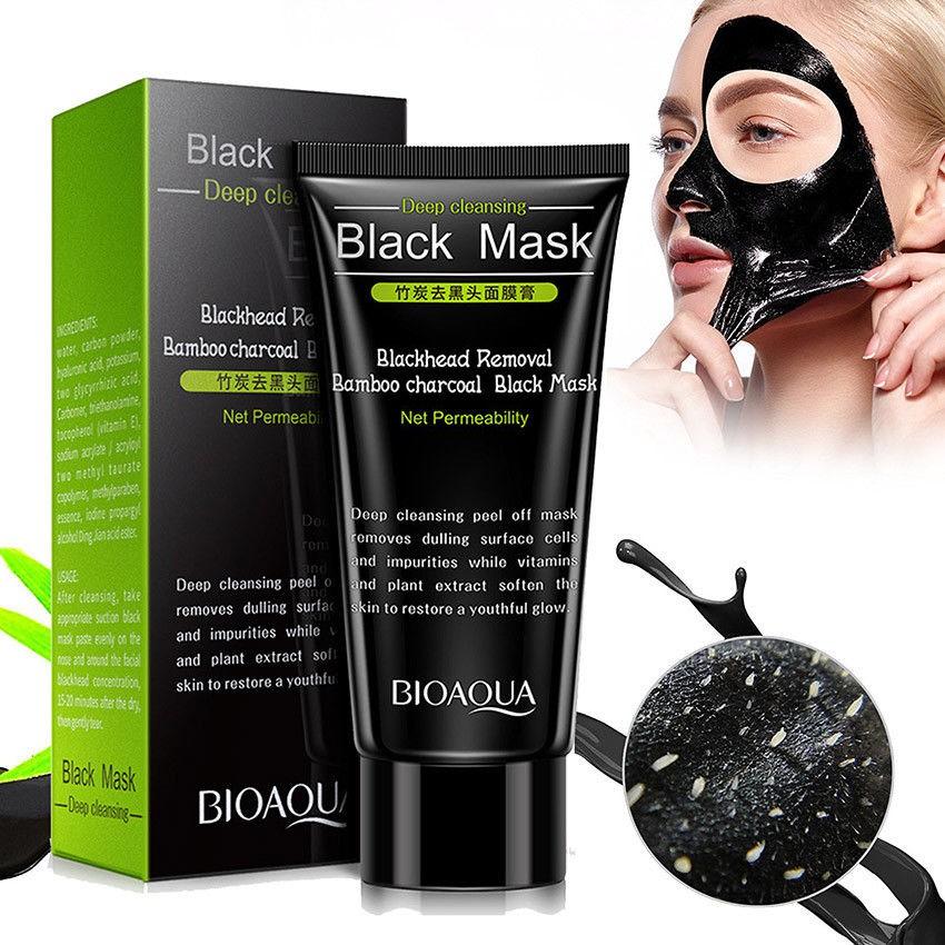 Masker wajah Bioaqua black mask blackhead masker hitam Bio Aqua / masker lumpur / black mask | Shopee Indonesia