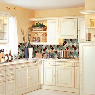 Dinding ❀Anti-oil Waterproof Tile Decal PVC Kitchen Geometric Wall Sticker .