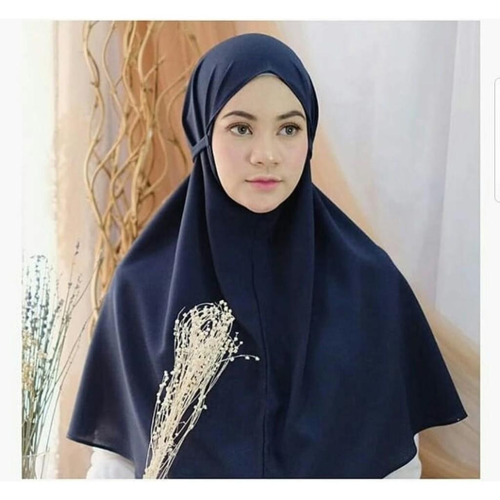 Aisyah Bergo Non Pet Hijab Jilbab Khimar Instant Kerudung Hitam Silver Navy Maroon Dusty Mocca Shopee Indonesia
