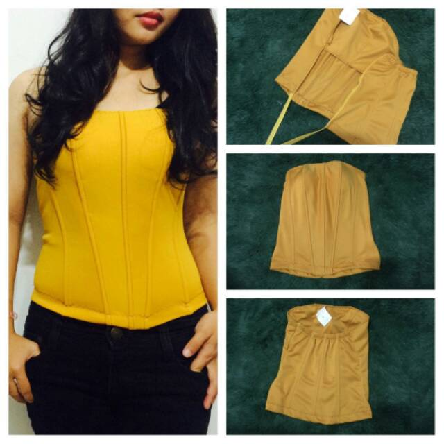 Jual bustier modern tulang 8 cup kunyit polyester  aacc607517
