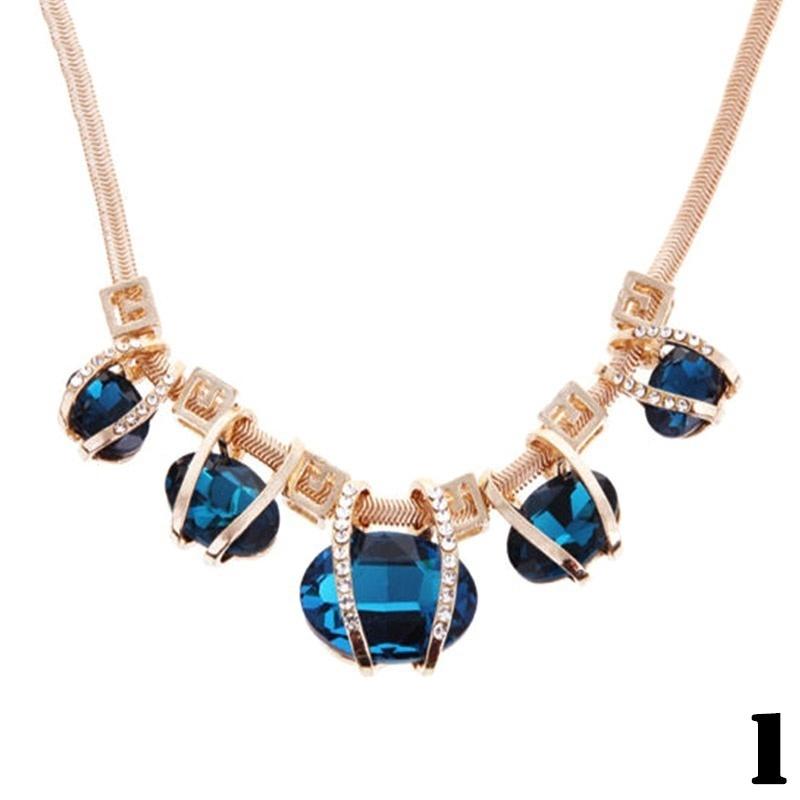 Fashion Jewelry Crystal Women Pendant Chain Choker Chunky Statement Bib Necklace