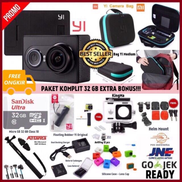 Paket Komplit Xiaomi Yi Camera Black International Version | Shopee Indonesia
