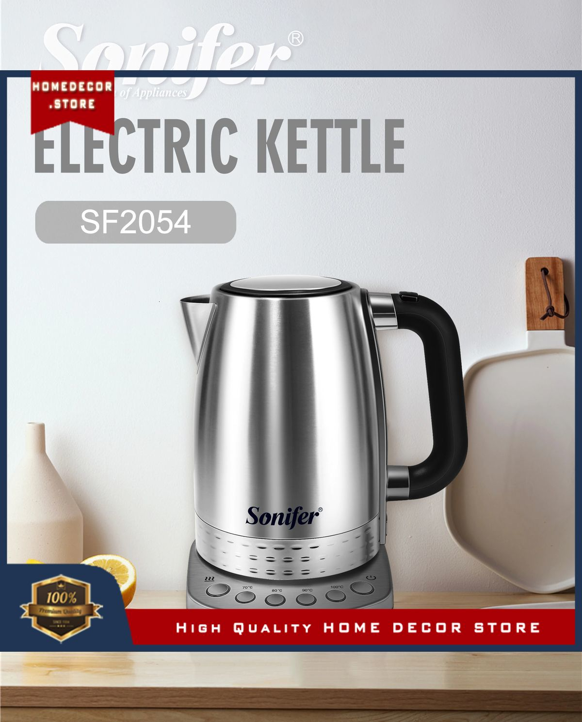 1.7L Electric Kettle Stainless Steel Kitchen Smart Whistle Kettle Samovar Tea pot Thermo pot With Te