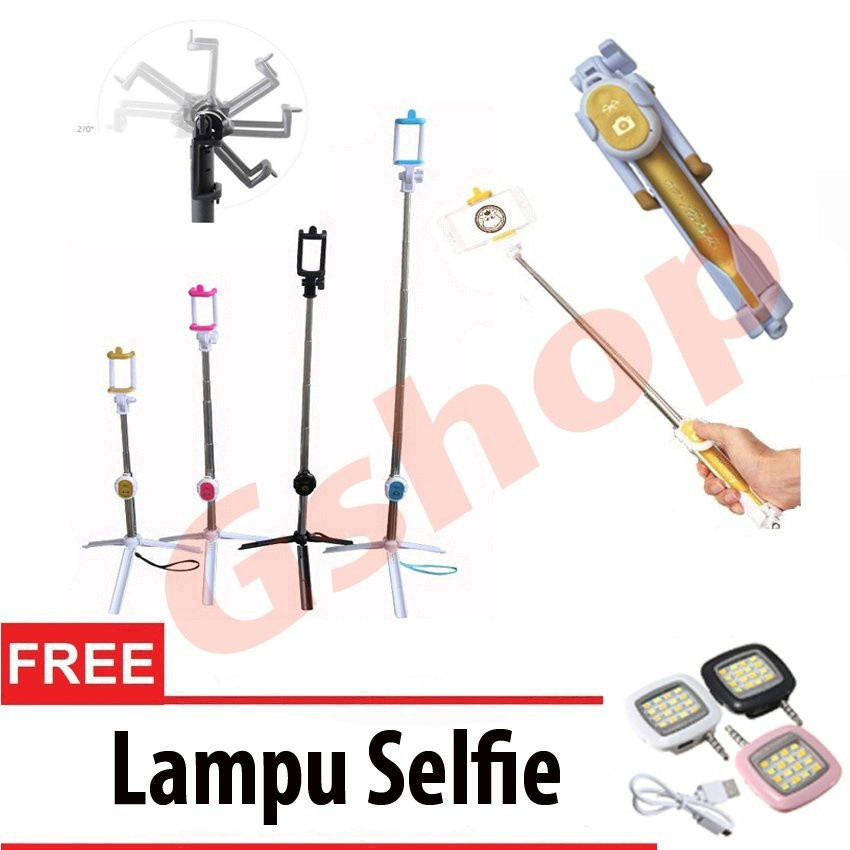 Gshop Tongsis 3 in 1 Selfie Stick Built In Bluetooth Tripod Gold + Lampu Selfie | Shopee Indonesia