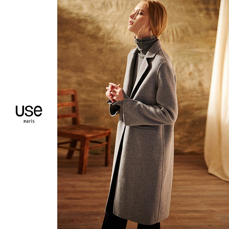 80/% Cashmere Wool Womens Double Breasted Coat Long Trench Jacket Outwear Parka