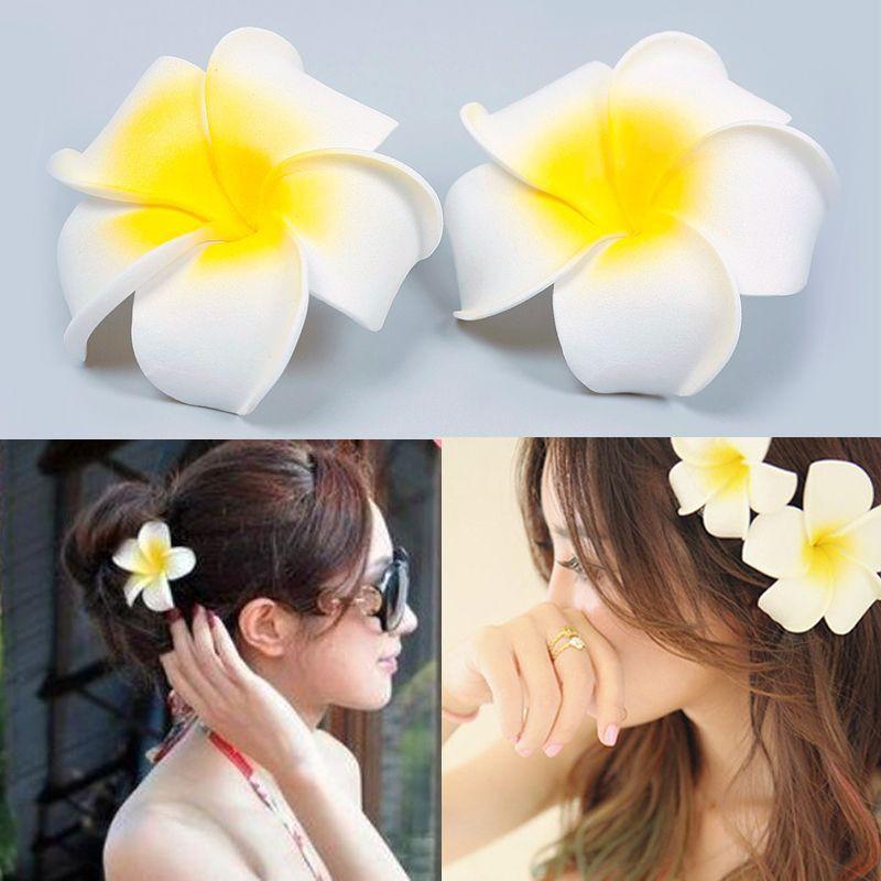 """2/"""" Hawaiian PLUMERIA FLOWER FOAM HAIR CLIP Pink White"""