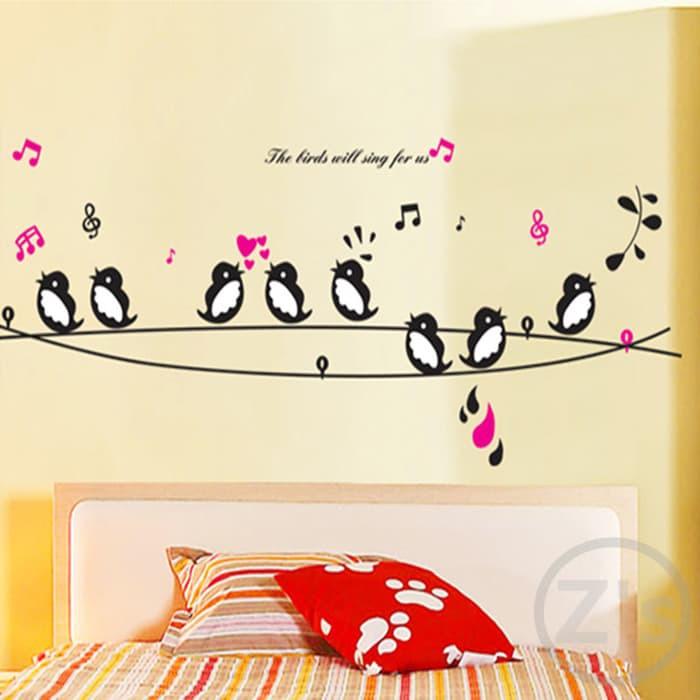 (WSIDM) wall sticker 50x70 wall stiker transparan AY7019 black bird sing | Shopee Indonesia