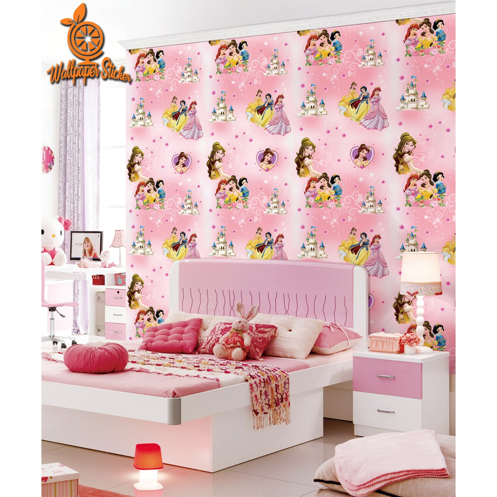Wallpaper Dinding Karakter Disney Princess Pink 45cm X 10m