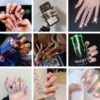 With Glue 24pcs Set of European and American Style Fake Nails Long Flame Nails thumbnail