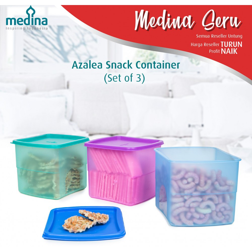 Food Storage Collection Azalea Round Snack Container Set Of 3 Pcs 1 Toples Kue Kering Cemilan Permen Shopee Indonesia