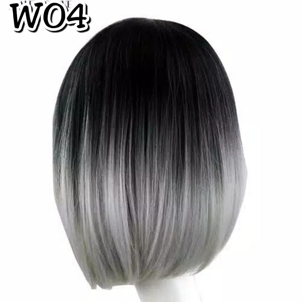 Wig Model Ombre Abu Pendek Wo4 Shopee Indonesia