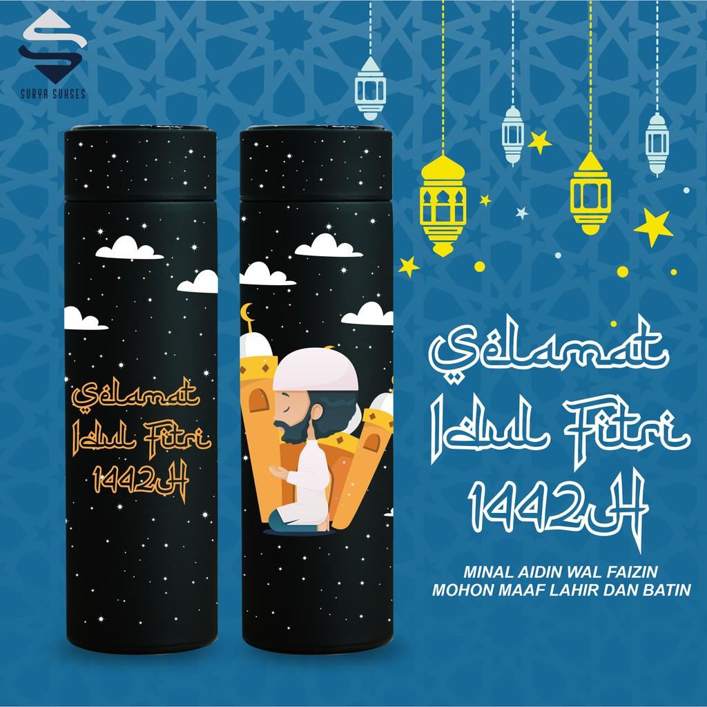 Parcel Lebaran Idul Fitri 2021 Termos Happy Selamat Eid Mubarak 1442 H 500ml Shopee Indonesia