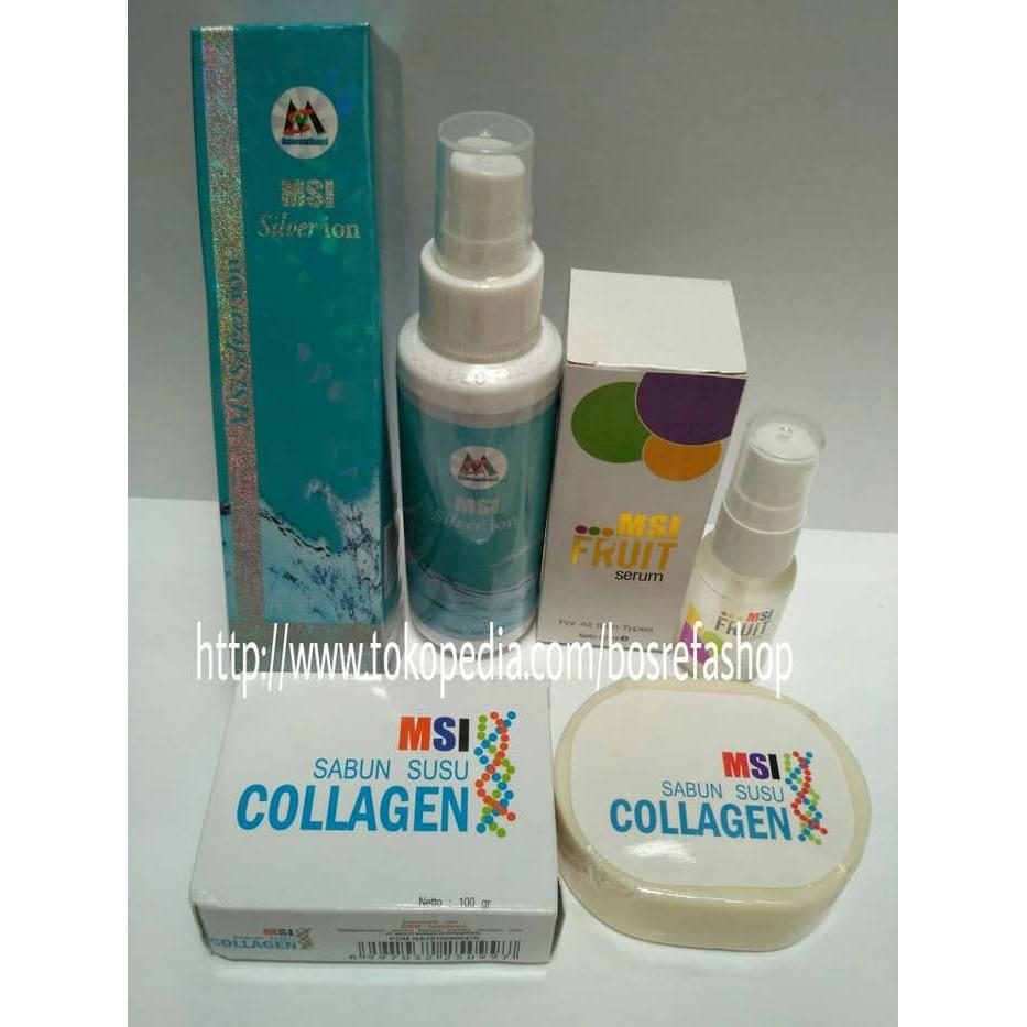 Msi Paket 3in1 Silver Ion Fruit Serum Sabun Collagen Spray Perak Original Member Gold Beauty Soap
