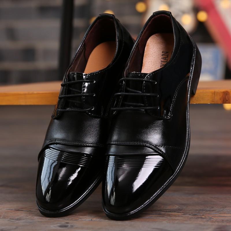 Sepatu Sneakers Pria Bahan Kulit Pu Warna Hitam Untuk Kerja Pernikahan Shopee Indonesia