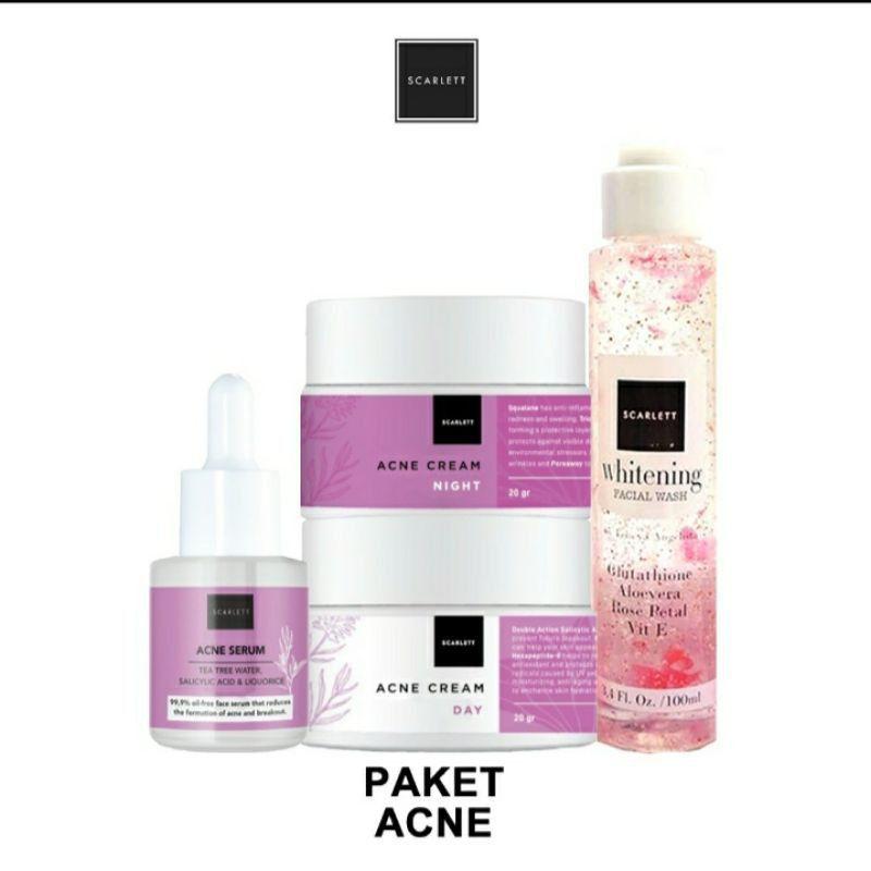 Scarlett paket acne 4in1/scarlett whitening paket perawatan wajah original