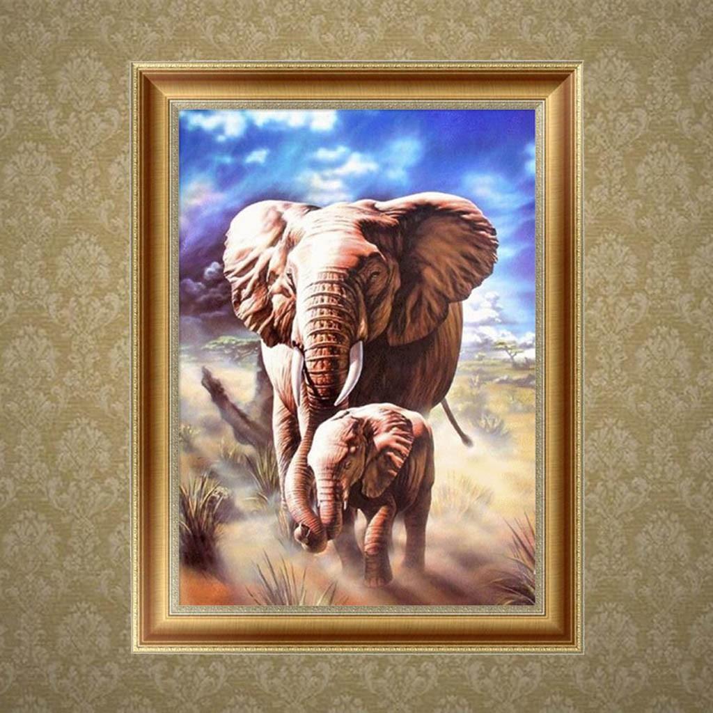 Lukisan Diamond 5D Gambar Gajah J344