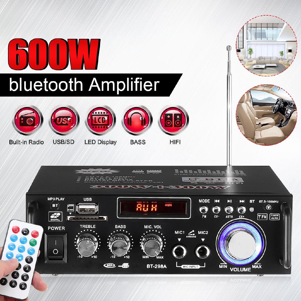 600W Watt Home Car Digital bluetooth Stereo Amplifier AMP TF FM USB Mic  HOT