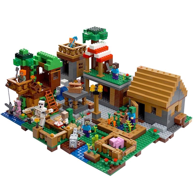 Lego Minecraft Building Blocks Cave Tambang Underground City House Village Rakitan Minifigures Main Shopee Indonesia