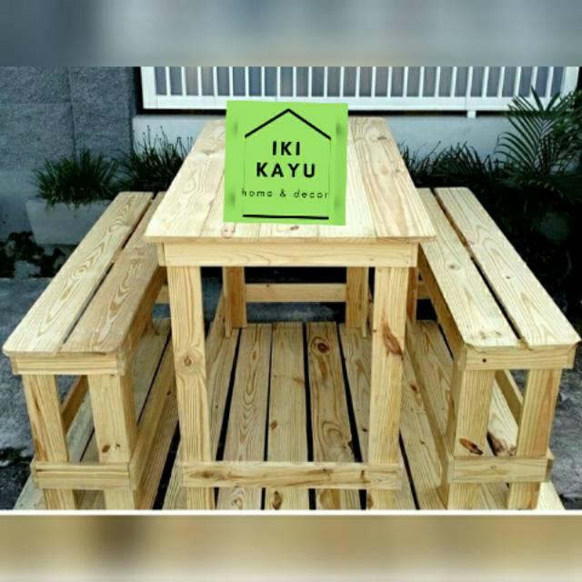 Set Meja Kursi Cafe Set Meja Kursi Kayu Palet Shopee Indonesia