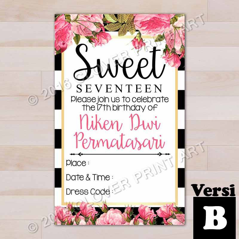 Isi 10 Kartu Undangan Ulang Tahun Birthday Invitation Remaja Sweet Seventeen