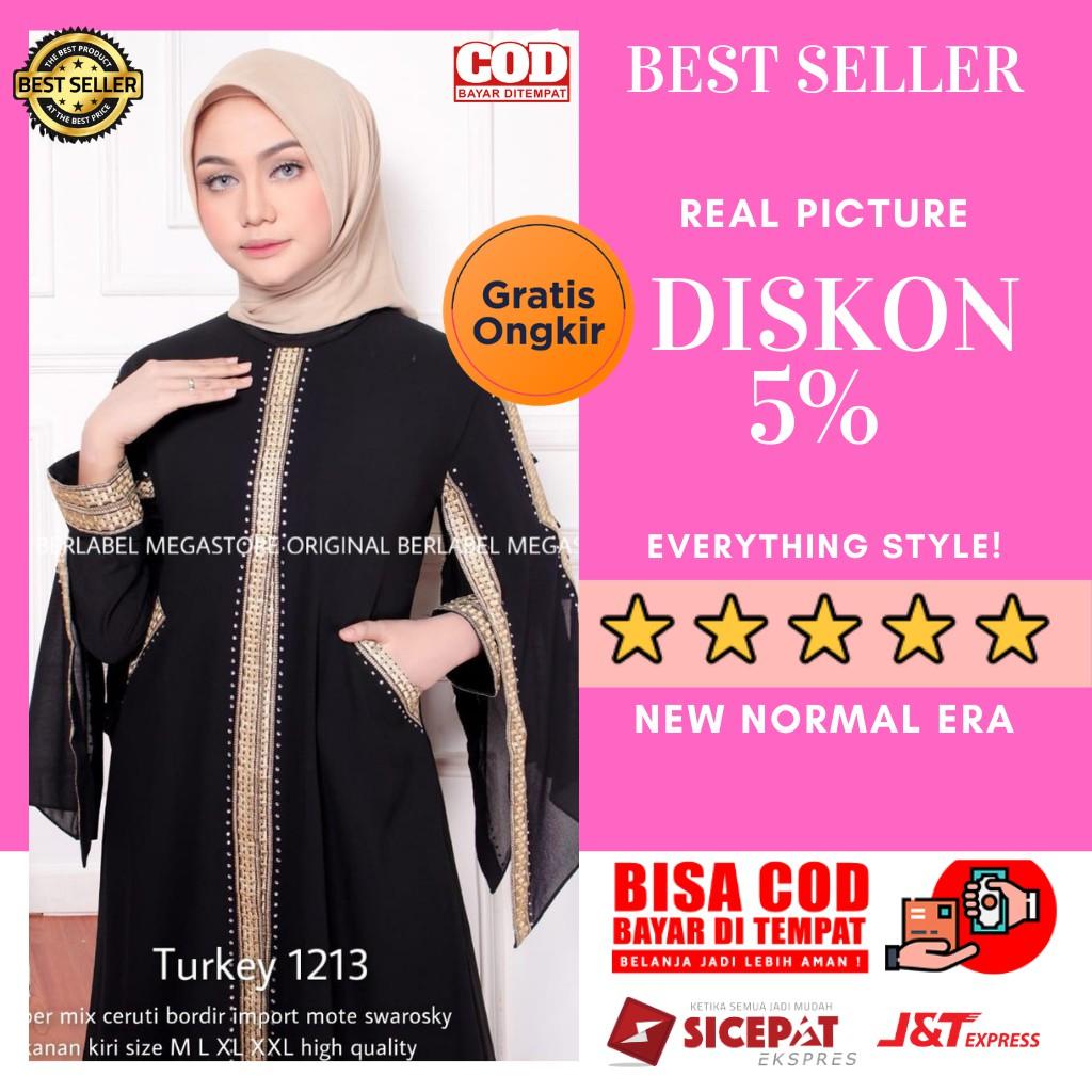 Gamis Pesta Syari Abaya Turki Hitam Bahan Jersey Atau Abaya Arab Dubai Bordir Ori Premium 1213