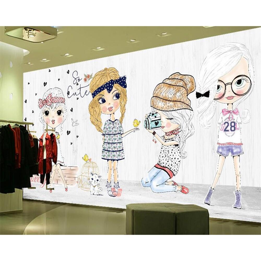 Beibehang Wallpaper Kustom Fashion Gadis Tangan Menggambar Kartun Store Toko Pakaian Latar Shopee Indonesia