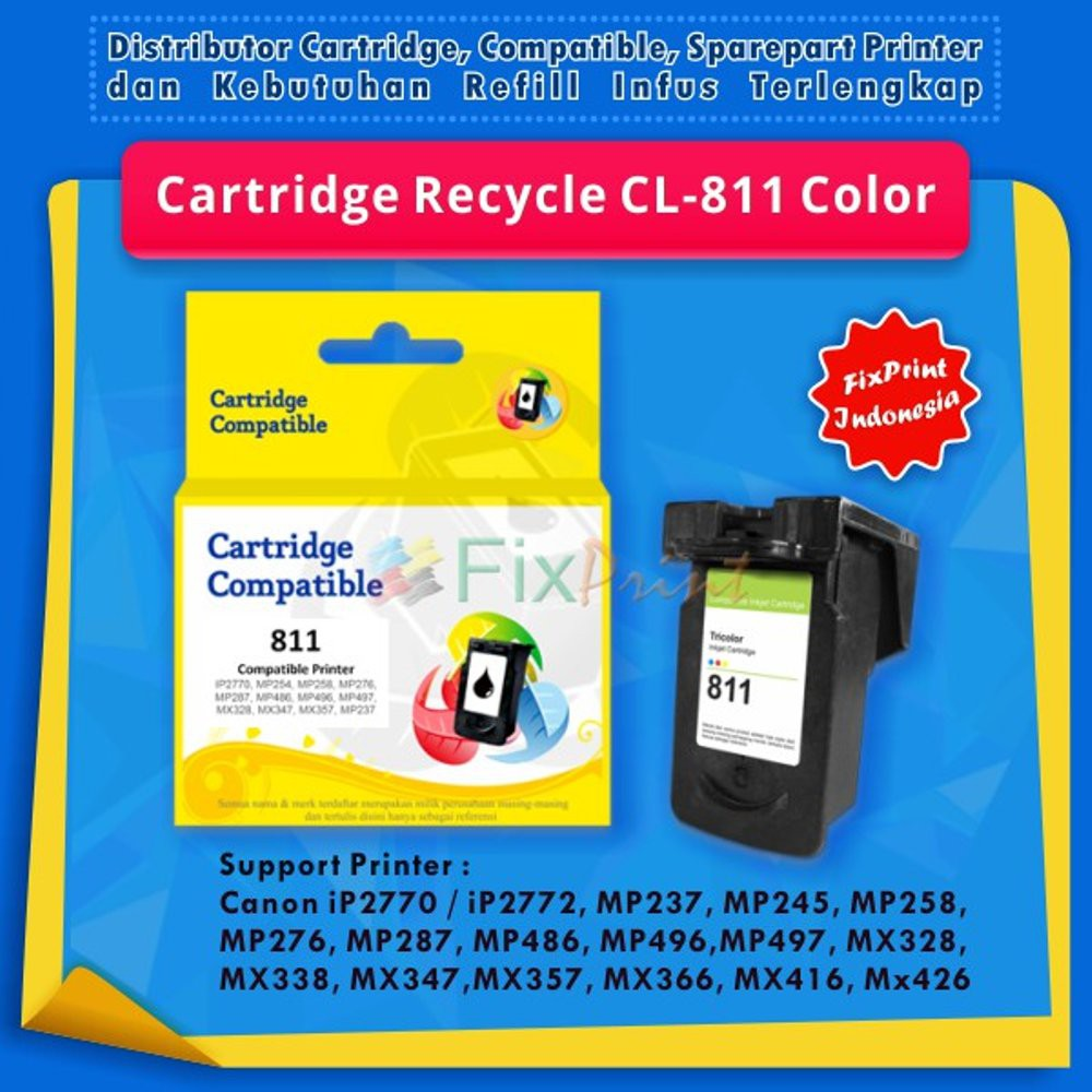 Cartridge Canon Cl 811 Infus Recycle Original Ip2770 Mp287 Mp237 Catridge Cl811 Color Tinta Mp258 Shopee Indonesia