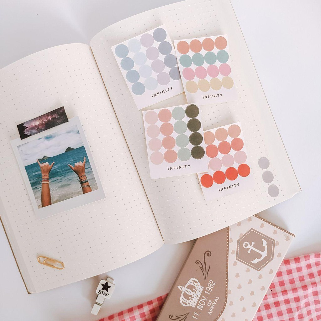Infinitystuff Sticker Bulat Dot Untuk Journal Bujo Deco Stiker Jurnal Aesthetic Murah Shopee Indonesia