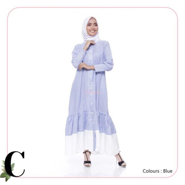 CJ61 Atasan Wanita Dia Dress Blue Muslim modern by Cozela