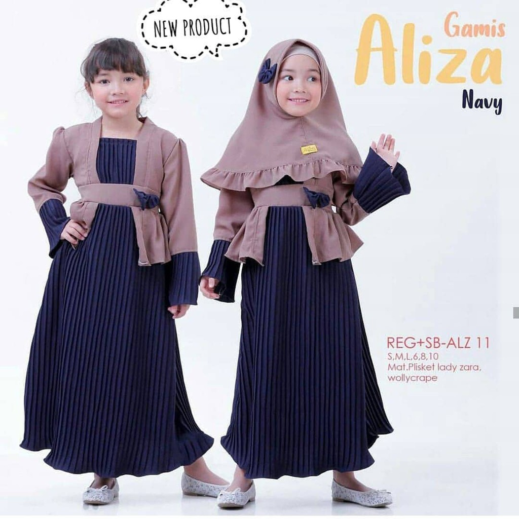 PROMO!!! Aliza Syari-Mosscrepe-Hijab Anak-Model Terbaru-Gamis Anak  Perempuan-Pakaian Terbaru 10