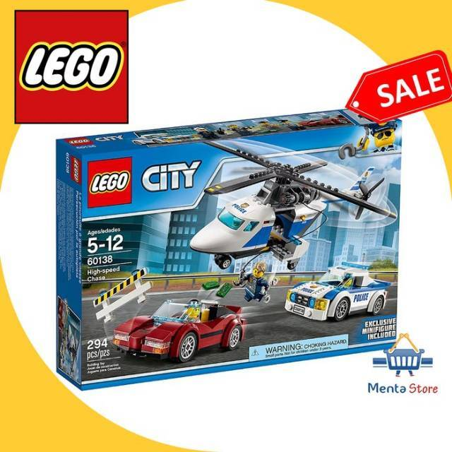 LEGO 60138 City Police High Speed Chase Toy Helicopter And Sports Car Playset