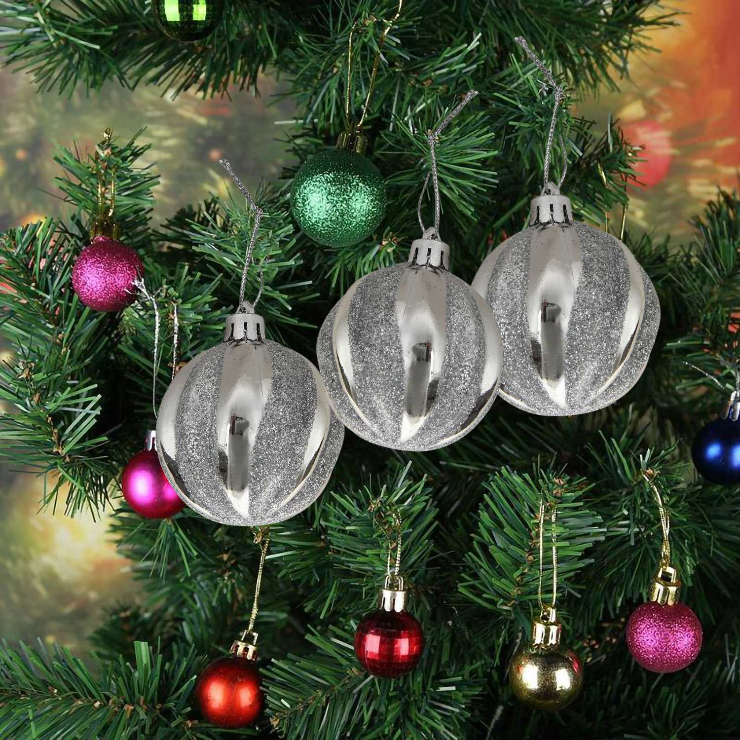 Cod 1 Set Christmas Tree Decor High Qulity White Gold Ball Ornament Bauble Party Hanging Ball For Home Christmas Decorations Silver Shopee Indonesia