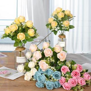 9 flower heads silk rose bouquet buket bunga flanel buket