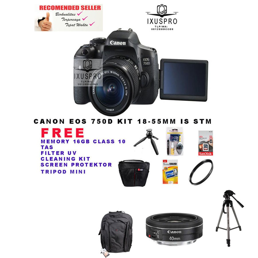 Canon Eos 100d Kit 18 55 Is Stm 100 D Shopee Indonesia 80d Body Only Bergaransi Datascrip