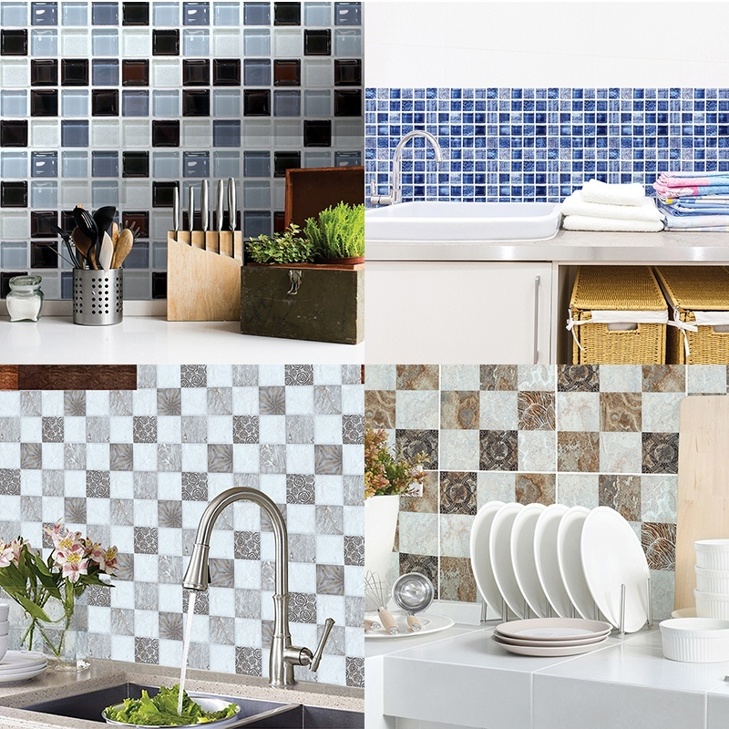 Self Adhesive Tile Sticker Kitchen Backsplash Bathroom Wall Tile Stickers Decor Waterproof Tiles Shopee Indonesia