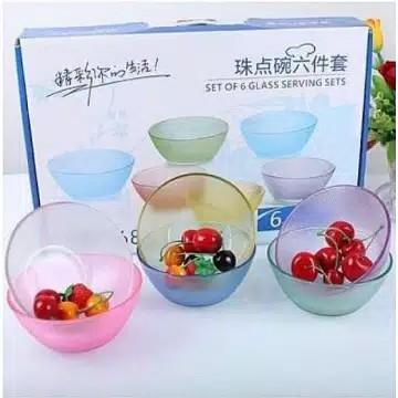BPT - SET OF 6 GLASS SERVING SETS MANGKOK BELING KACA ISI 6PCS + AIR BUBBLE  WRAP | Shopee Indonesia
