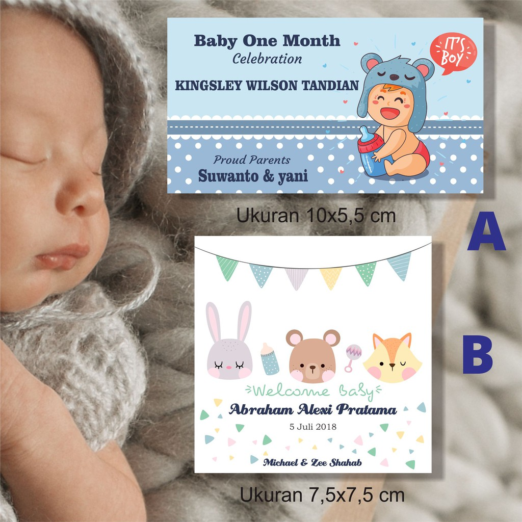 Kartu Ucapan Kelahiran Bayi Aqiqoh Baby One Month Ulang Tahun Anak Shopee Indonesia