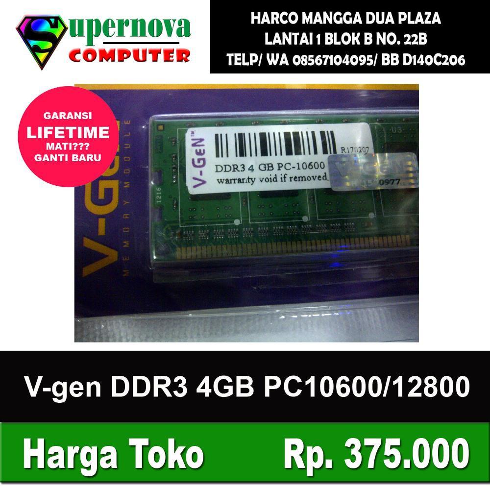 Info Harga Vgen Memory Ram Komputer 4gb Ddr3 Pc10600 1333mhz V Gen 8gb Long Dimm Pc Desktop Cpu 12800 1600mhz Longdimm