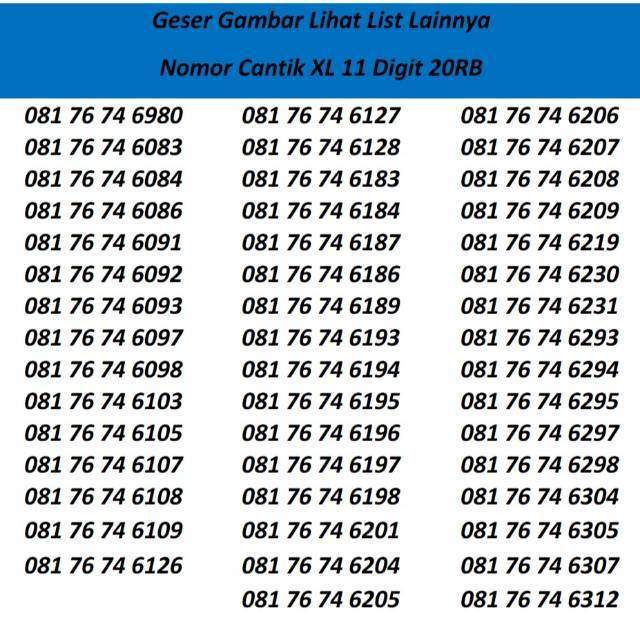 Nomor Cantik XL Bebas Seri Triple 777 / 888 / 999 Murah / Murmer   Shopee