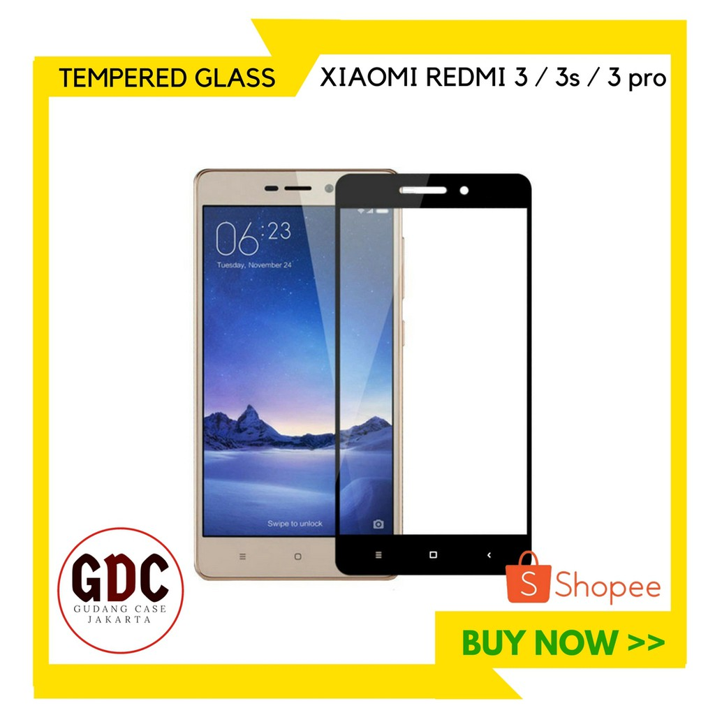 Full Cover Tempered Glass Warna Screen Protector For Xiaomi Redmi 3 / 3s / 3 pro | Shopee Indonesia