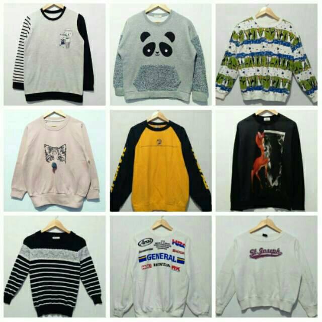 Paket Usaha Sweater Crewneck Hoodie Import Mini Bal Sweater Wanita Import 10pcs