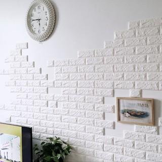 (bou) Brick Wall 3D Wall Stickers Waterproof PE 30X60cm Anti-collision Walpaper Dinding