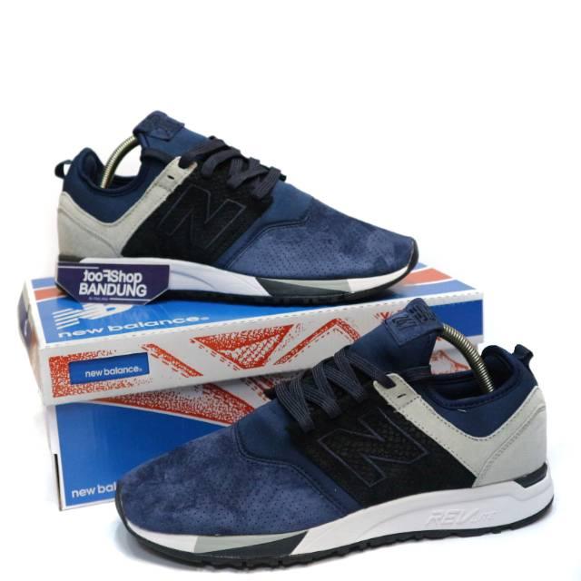 Sepatu Sneakers New Balance 247 Luxe Suede Dark Navy Black grey 40 - 45 (Free tas sepatu)