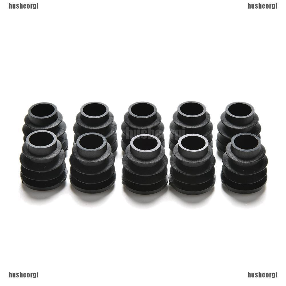 22mm Dia Plastic Blanking End Cap Round Ribbed Tube Insert White 100pcs