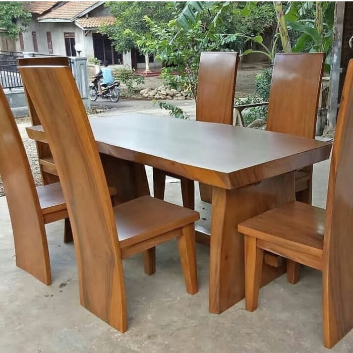Set Meja Kursi Makan Kayu Trembesi Natural Antik Murah Stool Cafe Resto Bar Terbaru Shopee Indonesia