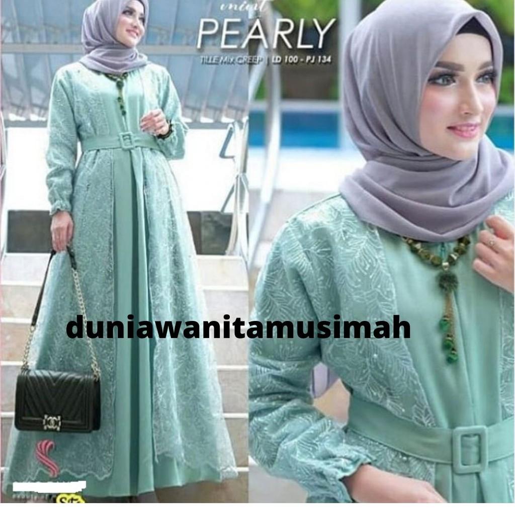 Baju Untuk Acara Pernikahan Berhijab / Baju Muslim Brokat Untuk Pesta /  Baju Muslim Kondangan Modern