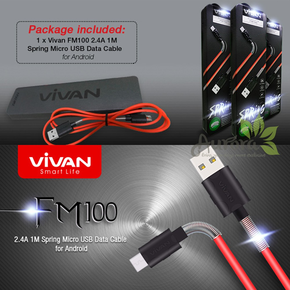 Kabel Data VIVAN SPRING Micro USB Cable 2.4A FM100 Samsung Asus Xiaomi | Shopee Indonesia